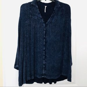 Free People Button Front Boho Tunic Top Blue SP
